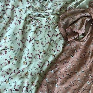 Two floral shirts! White and pink! (SET)